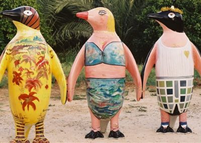 3 Israeli typecast penguins. Oil colors on Fiberglass penguins Height 72_