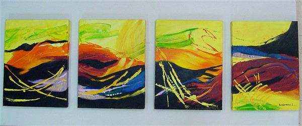 4-pieces-yellow-black_SOLD. Acrylic on canvas