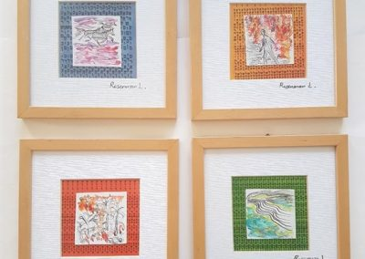 Bible-phrases-miniatures.4 pieces of net 8_ each.mixed media. framed