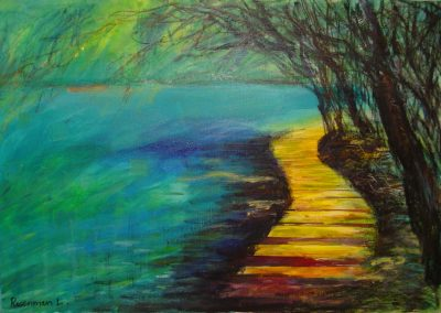 Bridge_over_the_green_water.-1002-_A_green_forest.-original-sold. prints on canvas available.32_ x 40_