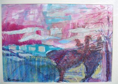 Brown_and_pink_landscape.mixed on paper. 20_ X 28_