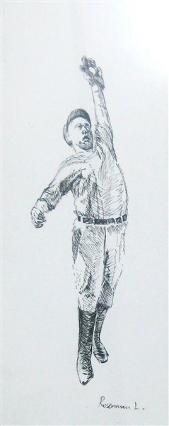 DiMaggio.Ink drawing on paper 30 cm. on 20 cm.