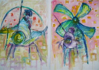 Don_Quijote_y_Sancho_Panza.2 pieces. mixed on paper. each 40_ x 28_