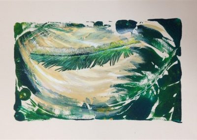 Green Feather. mixed media on paper.25 cm. X 35 cm