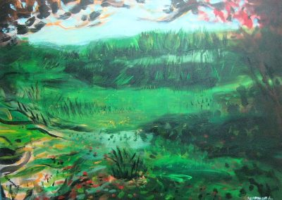 Green landscape. Acrylic on canvas.28_ x 40_