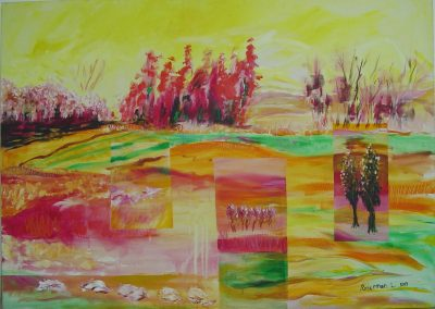 Hemed_in_Red_and_Yellow. Acrylic on canvas..48_ x 40_