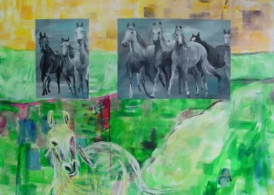 Horses_in_the_green_field.. Acrylic on canvas 40_ X 48_