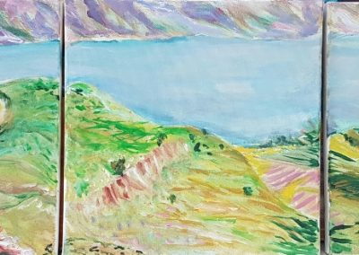 Kinneret lake. Triptyich. 3 pieces of 12_ X 12_ acrylic on canvas