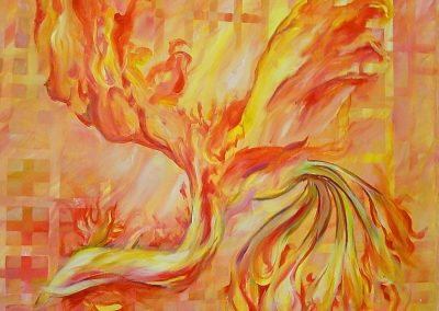 Phoenix_of_fire.Acrylic on canvas.48_ x 48_