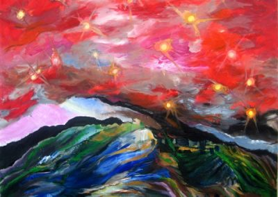 Red lights above jerusalem. Acrylic on canvas.32_ x 40_