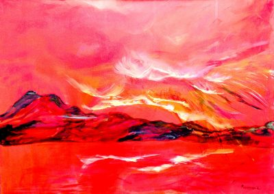 Red on the waters.-Sold. .Acrylic on canvas 40_ X 48_