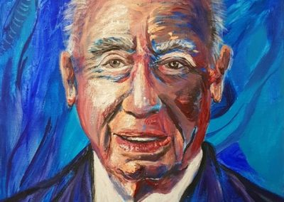 Shimon Peres zl Acrylic on canvas.12_ x 16_. prints available