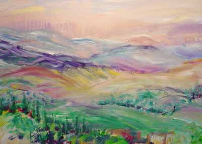 Sunset in jerusalem mountains. Acrylic on canvas.48_ x 20_