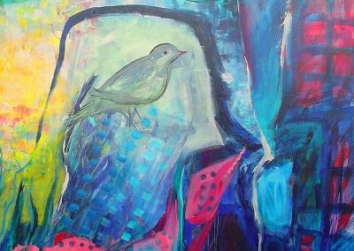 The_bird_in_Galilee.Symphony in the forest.mixed media on canvas 40_ X 40_