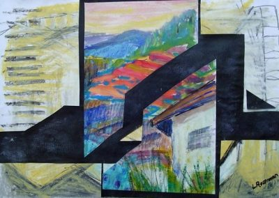 ‏‏Triangles in the village. mixed collage 20_ X 28_