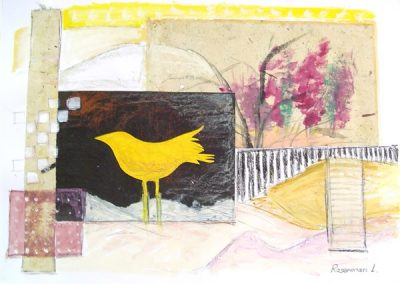 Yellow_bird_collage.mixed collage on paper. 20_ x 28_