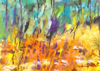 some_fire_in_Jerusalem_woods..Acrylic on canvas 28_ X 40_
