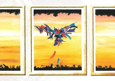 the_phoenix-tryptich.Original-sold(prints on canvas available). 3 pieces of 28_ X 40_